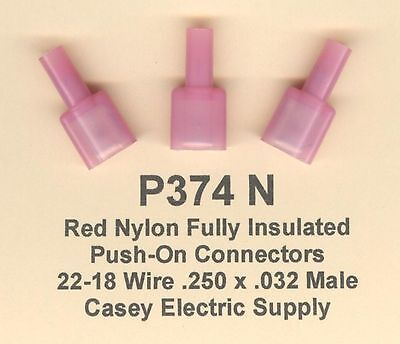 50 Red NYLON Insulated Quick Disconnect Push On Connectors 22-18 MALE .250 USA