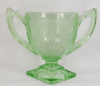 Horseshoe Green Depression Glass Sugar Bowl Indiana Glass Footed Vintage AS IS