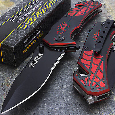 "7.5"" TAC FORCE SPIDER SPRING ASSISTED TACTICAL FOLDING KNIFE Pocket Blade Assist"