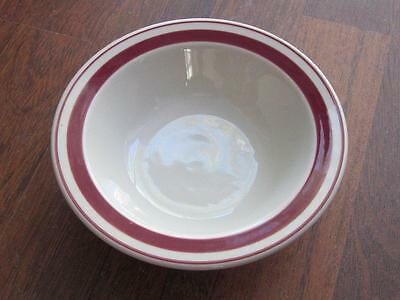 """Syracuse Restaurant Ware Round Soup Cereal Bowl Off white Maroon 6 1/2"""" dia."""