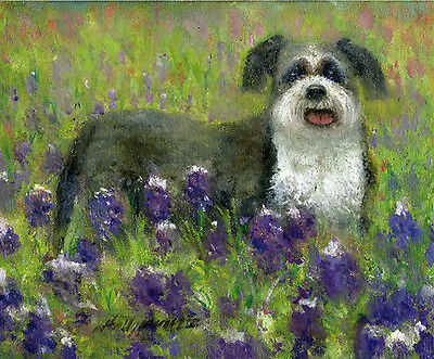 Shih Tzu Dog with Wild Flowers 8 x10 in. Original Oil on canvas HALL GROAT II
