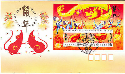 1996 Christmas Island Year Of The Rat (Mini Sheet) FDC