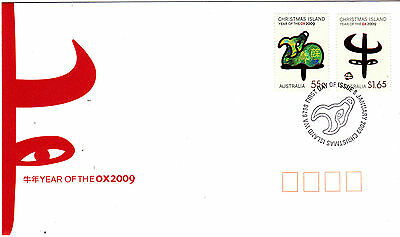 2009 Christmas Island Year Of The Ox (Gummed Stamps) FDC