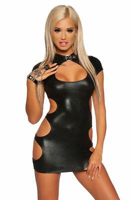 SeXy Mini Wet-Look Kleid FeTisch Gothic DoMina Kleid Gogo Club Cut Outs XS-XL