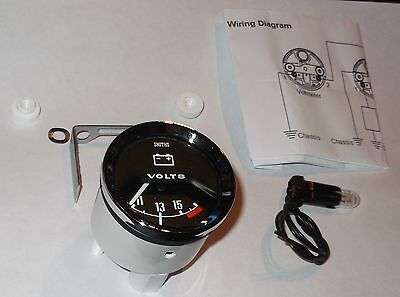 Austin Cooper & S 1960-70s - SMITHS Style VOLTMETER Black faced Classic Gauge