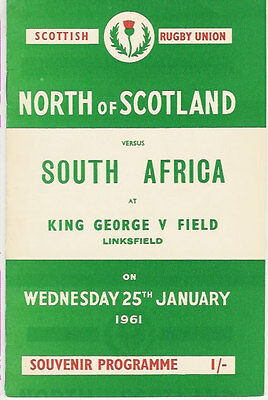 North of Scotland v South Africa RUGBY PROGRAMME 25 Jan 1961, Aberdeen