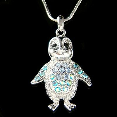 ~Blue Penguin~ made with Swarovski Crystal Baby Emperor Antarctica Necklace New