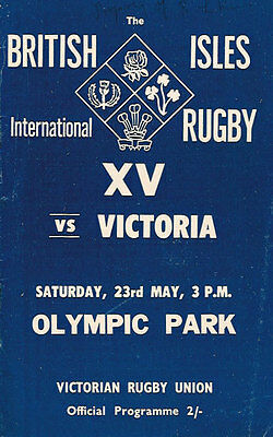 British Lions v Victoria (Australia) 23 May 1959 Rugby Programme Olympic Park