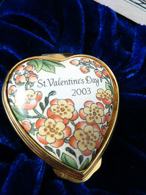 """st. Valentines Day  "" English Halcyon Days Enameled Box   New    Pefect Gift !"