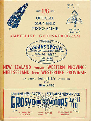 Western Province v New Zealand RUGBY PROGRAMME 16 Jul 1960, Cape Town