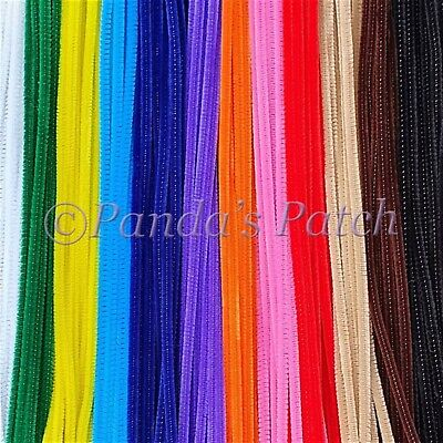 "Chenille Craft Stems Pipe Cleaners 12"" 30cm, 6mm wide - Choose Pack size/ Colour"