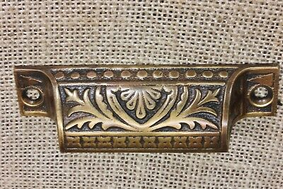 "old Bin Drawer Pull cup handle leaves ferns 3 5/8"" antique cast BRASS restored"