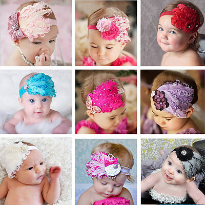 Feather Flower Kid Baby Infant Girl Headband Headwear Hair Bow Accessories Band