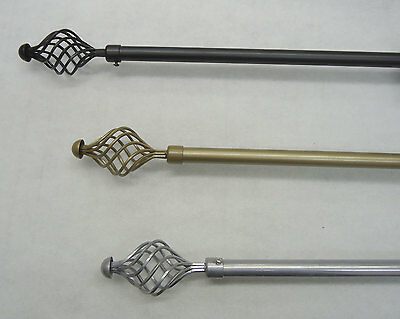 Extendable Metal Curtain Pole 16-19mm Diameter with Spiral Finials