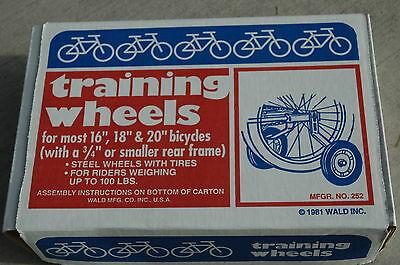 "WALD 252 TRAINING WHEELS - 16"" to 20"" Steel Kids Adults Balance Bike - NEW!"