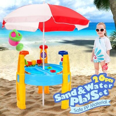 Kids Children Umbrella Sand and Water Play Transport Table Sandpit Toy Toys Set