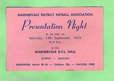 #d5. 1974  Presentation Ticket  - Warnervale Netball Association