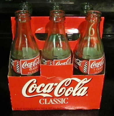 6 Pack 8oz Coke Coca Cola Bottles Classic Nascar Racing 1998 Official Soft Drink