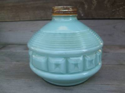 Vtg Frosted Mint Green Glass Oil Lamb Base - Unique