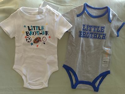 New Little Brother 12 Month Lot Carters Koala Kids White Gray Blue One Piece