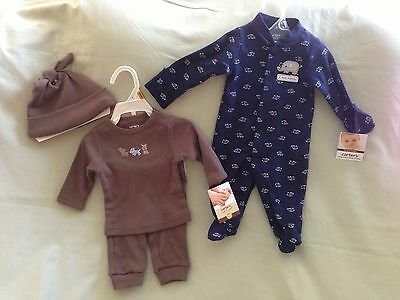 New Carters Newborn Nb Lot Sleep And Play Navy Blue 3 Piece Set Brown Animals