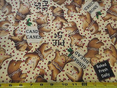 Bakers Dozen Cotton Fabric Green Berry Toss Allover Tidings of Great Joy RED BTY