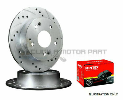 Mazda Mx5 1.6 1990-1998 Rear Drilled & Grooved Brake Discs And Mintex Pads New