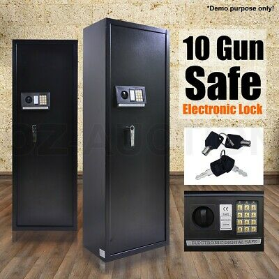 10 Rifle Storage Gun Safe Firearm Security Lockbox Steel Cabinet Heavy Duty