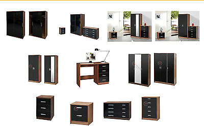 High Gloss Bedroom Furniture Range Wardrobe Chest Bedside Black/Walnut