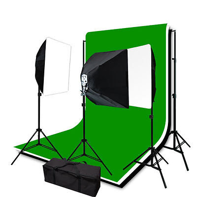 2400W Premium Studio Photo Muslin Backdrop 3 Softbox Continuous Lighting Light K