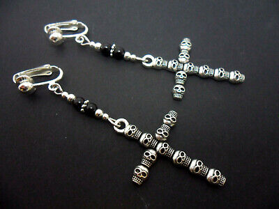 A PAIR OF LONG DANGLY SKULL CROSS BLACK BEAD GOTH CLIP ON EARRINGS. NEW.