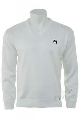 Bowls Lawn Bowling V-Neck White Jumper with Logo