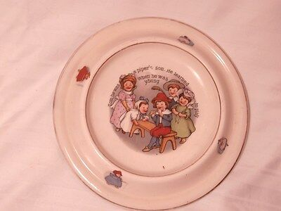 Vintage Childrens Dish/Bowl Tom Piper's Son Family scene with saying