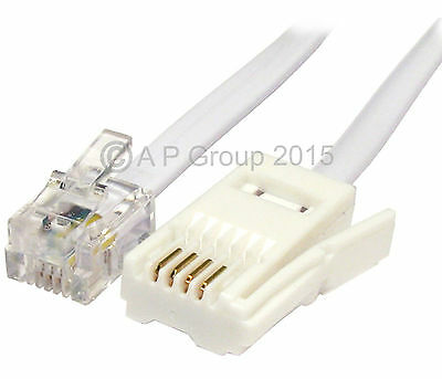 3m RJ11 to BT Modem Cable SKY Phone BT Socket 4 PIN Crossover Xover Lead WHITE