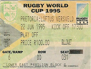 FRANCE v ENGLAND RUGBY WORLD CUP 1995 3/4 PLAY OFFS TICKET