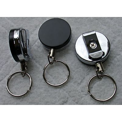 "2"" Heavy Duty Pull Reel Key Chain Retractable Chain Cord FULL METAL Double Sided"