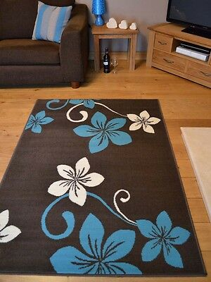 New Brown And Teal Blue Small Extra Large Huge Size Floor Carpet Rugs Rug Mat
