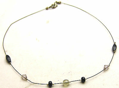 "Vintage 16"" 5mm Wire Necklace w/ Clear, Black, Brown Beads Silver Tone"