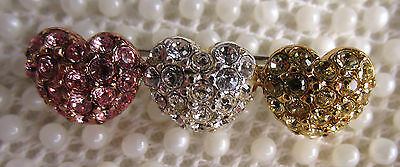Vintage Monet Pink Clear Yellow Rhinestone Heart Brooch Scatter Pin Valentine