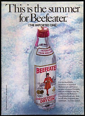 Vintage 1969 Summer for Beefeater London Distilled Dry Gin Magazine Ad