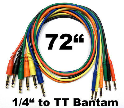 """6 Pack TT Bantam to 1/4 TRS Gold Patch Cables 72"""" Cords 6 Foot Studio Leads"""