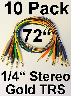 """10 Pack - 6 Foot TRS 1/4"""" Male Gold Stereo Patch Cables Cords 72"""" Leads - NEW"""