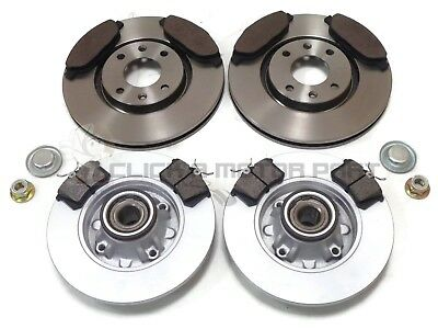 Peugeot 308 Front & Rear Brake Discs & Pads + Fitted Wheel Bearings & Abs Rings
