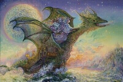 JOSEPHINE WALL ~ DRAGON SHIP 24x36 FANTASY ART POSTER Fairy Fairies Dragons