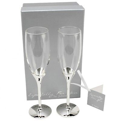 Personalised Silver Plated Especially For You Champagne Flutes, Engraved Gift