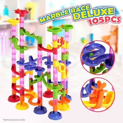 Kids 105pc DIY Plastic Brightly Coloured Marble Run Race Track Includes Marbles
