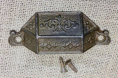 "old Bin Drawer Pull handle rustic vines leaves 3 3/4"" 1869 PATENT vintage iron"
