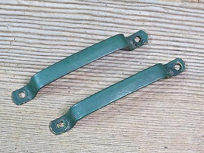 2 old door pulls cabinet drawer handles solid brass green paint rustic 3 3/4""