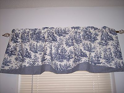 NEW~NAVY DELFT BLUE ON WHITE~WAVERLY Rustic Toile/CHECK TRIM Valance CURTAINS!!!