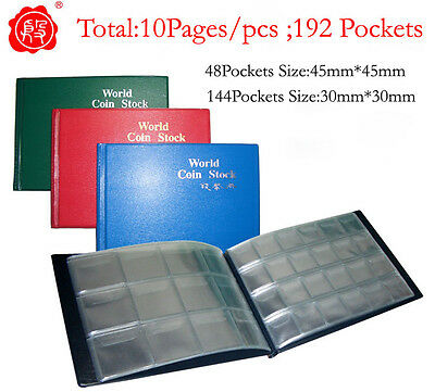 New Coin Album Holders Stock Book 4*3 6*4 192 Pockets 45mm 30mm total 10 pages